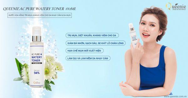 Nước hoa hồng Queenie AC Pure làm dịu da nhạy cảm, trị mụn, diệt khuẩn